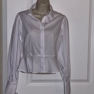 White long sleeve work blouse
